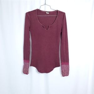 Free People Thermal Boho Sleeve Shirt